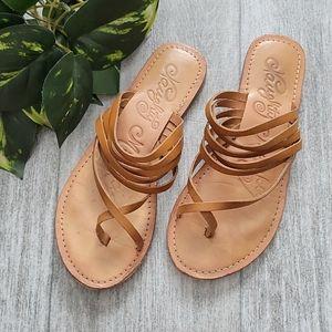 Naughty Monkey tan Chrissy Leather Slide Sandals